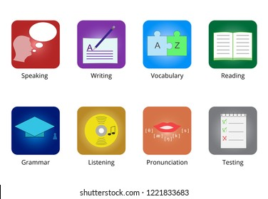 Vector icons for speaking, writing, vocabulary, reading, grammar, listening pronunciation, testing for showing different aspects of a foreign language