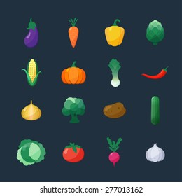Vector Icons Vegetables Flat Style Set Isolated over Dark Background with Eggplant, Carrot, Paprika, Artichoke, Corn,  Pumpkin, Potato, Leek, Pepper, Onion, Broccoli, Cucumber, Cabbage, Tomato, Garlic