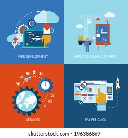 Vector icons of web and application apps development concepts in flat style