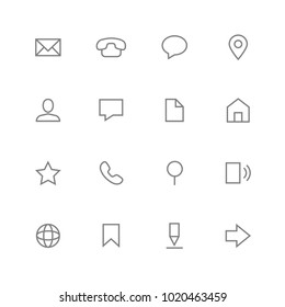 vector icons web contact outline, simple, minimalist set grey on white background