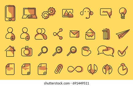 Vector icons web and mobile. One line style icon set. Isolated background