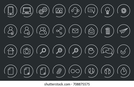 Vector icons web and mobile. One line style icon collection. Isolated background