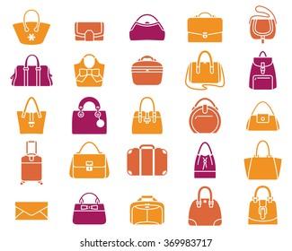 Vector icons of women handbags and luggage-big set