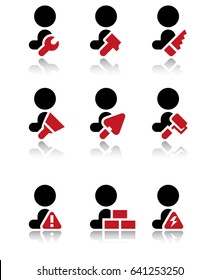 Vector icons of worker, builders with equipment, builders pictograms