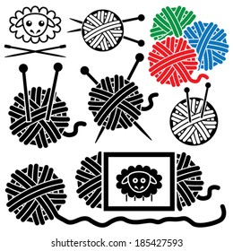vector icons of yarn balls with sewing equipment needles and sheep symbol