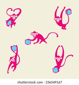 Vector icons(graphic, character, identity) symbolizing pink(magenta) monkey and blue(cyan) cube, monkey makes various motion(jump, walk, fly).