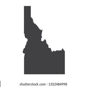 Vector Idaho Map silhouette. Isolated vector Illustration. Black on White background.