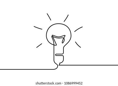 Vector idea lamp. One line style illustration