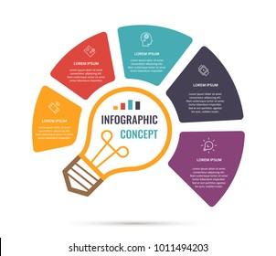 Vector idea light bulb circle infographic template for graphs, charts, diagrams. Business concept with 5 options, parts, steps, processes.
