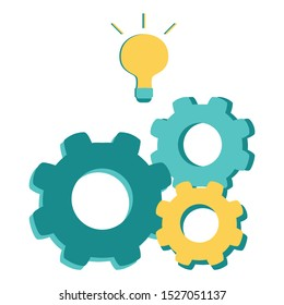 Vector idea strategy lamp and gears icon