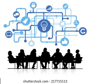 Vector of idea themed background with silhouettes of business people sitting around the conference table.