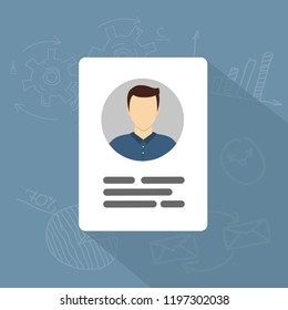 Vector Identification Card Icon. Personal info data icon flat