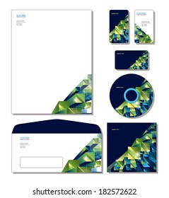 Vector Identity System Template - letterhead, business and gift cards, cd, cd cover, envelope.