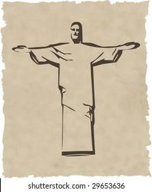 the vector iesus christ rio de janeiro statue silhouette eps 8