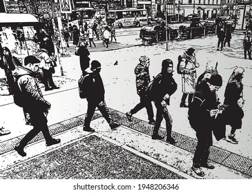 Vector iimage of cityscape with crowd townspeople walking along street