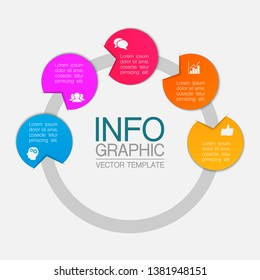 Vector iInfographic template for business, presentations, web design, 5 options.