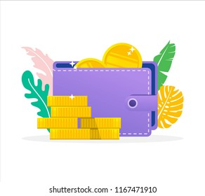vector illlustration concept stack of coin and wallet , e payment, cash back, refund, cryptocurrency blockchain concept, can be use for landing page, , web, poster, banner, flyer, wallpaper, template