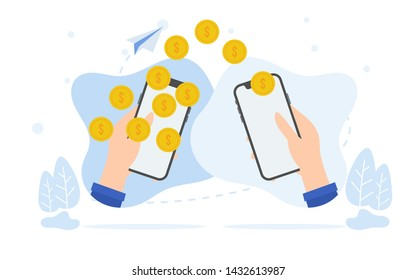 vector illlustration concept stack of coin and wallet , e payment, refund, cryptocurrency blockchain concept, can be use for landing page, , web, poster, banner, flyer, wallpaper, template