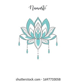 Vector illstration of fashion print for t shirt for yoga sport collection, lotus flower with blue petals, beads, gems drawn in tattoo style, henna tattoo, Buddhism philosophy, lettering namaste, text