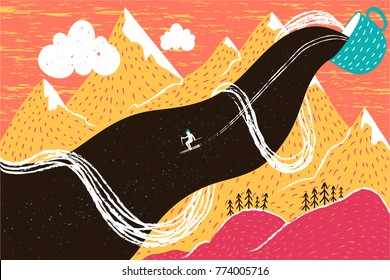 Vector illsutration with the skier who goes down the flow of coffee, tea or hot chocolate. Funny print design, winter greeting card, colored mountains landscape art