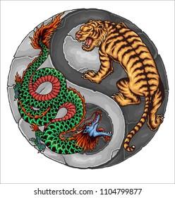 Vector illuatration of dragon tiger yinyang chinese asia symbol of balance