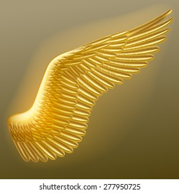 Vector illuminated gold wing of a bird with detailed feathers. Vector illustration