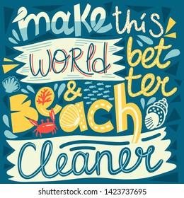 vector illustarion beach and ocean clean up