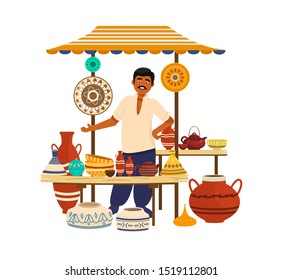 Vector illustartion of ceramic street shop with seller. Painted jars, bowls, tea pots, dishes, vases, amphora. Asian man. Trade fair. Flat cartoon style.