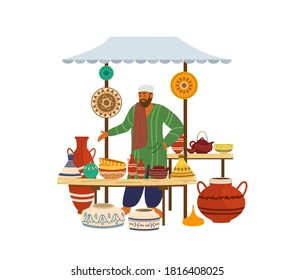 Vector illustartion of ceramic street shop with Arabian seller. Painted jars, bowls, tea pots, dishes, vases, amphora. Asian man. Trade fair. Flat cartoon style.