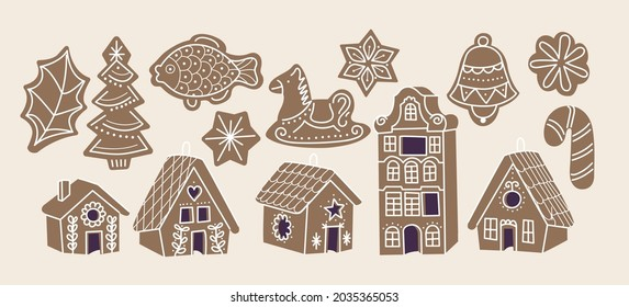 Vector illustartion collection of gingerbread cookies. Cute naive christmas honey-cakes. Set of gingerbread houses.
