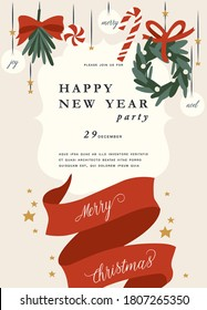 Vector illustartion design for Christmas greetings card or party invitation. Typography and icons for Xmas background