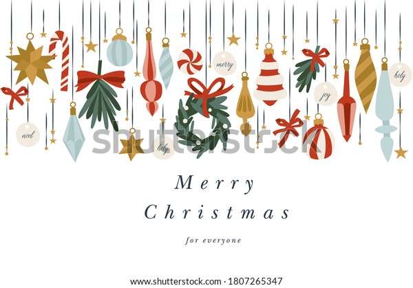Vector illustartion design for Christmas greetings card. Typography and icons for Xmas background