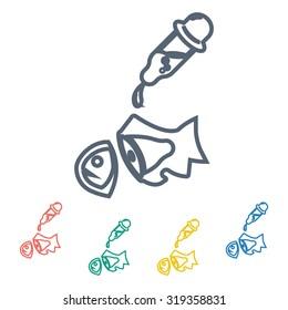 Vector illustartion of fishing and fish icon