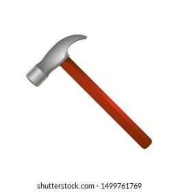 Vector illustartion of gradient hammer in cartoon style