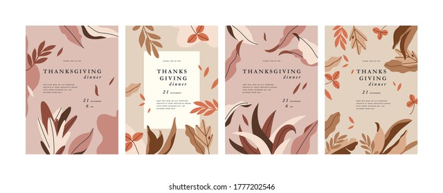 Vector illustartion greeting cards for Thanksgiving invitations. Abstract vertical banner or background with copy space for text