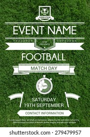 Vector illustartion of sport flyer, invitation card with realistic grass background. Football tournament design template.