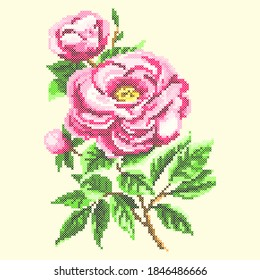 vector illustation cross stitch pink flower