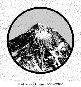 Vector illustation logo of Mount Everest, himalayas, Nepal