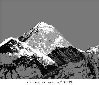 Vector illustation of Mount Everest, himalayas, Nepal