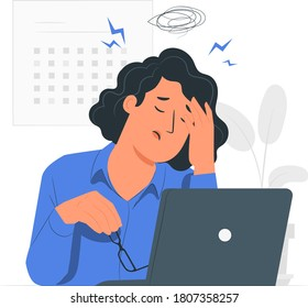 Vector illustation of a woman stressed in front of his notebook