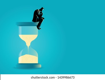 Vector illustraion of a businessman sitting and thinking on hourglass. Wasting time. Too much thinking. Deadline concept