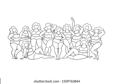 Vector illustraion on the theme of body positive and beauty diversity. Female cartoon characters. Women dressed in swimwear isolated on white background