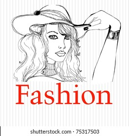 vector illustrated beautiful woman