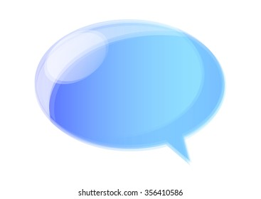 Vector illustrated blue glossy speech bubble.