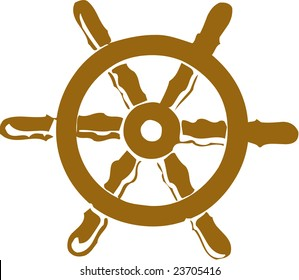 Vector illustrated cartoon ship steering wheel