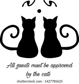 Vector illustrated cat silhouettes, for home decor, wall art, door step design