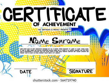 Vector illustrated certificate template with comic book elements.