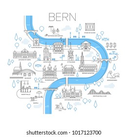 Vector illustrated map of Bern, Switzerland. stylized landmarks and famous places. Line art.