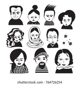 vector illustrated people faces. crowd avatar collection. man woman boy girl. hairstyles beauty hipster glasses. hand drawn sketch. stylish arty unusual.