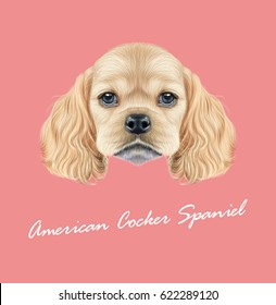 Vector Illustrated portrait of American Cocker Spaniel puppy. Cute fluffy golden face of domestic dog on pink background.